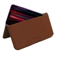 Leather Wallet Pouch for ViVO Z1 Lite (Brown)