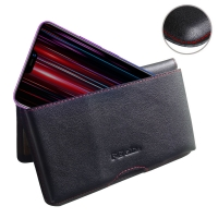 Leather Wallet Pouch for ViVO Z1 Lite (Red Stitch)