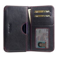 Leather Card Wallet for ViVO Z1 Lite (Red Stitch)
