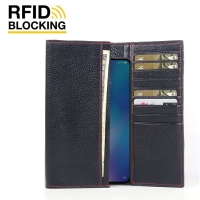 Continental Leather RFID Blocking Wallet Case for Xiaomi Mi 9 SE (Black Pebble Leather/Red Stitch)