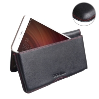 Leather Wallet Pouch for Xiaomi Redmi Note 4 (Red Stitch)