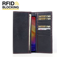 Continental Leather RFID Blocking Wallet Case for Xiaomi Redmi Note 7 Pro (Black Pebble Leather/Red Stitch)
