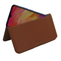 Leather Wallet Pouch for Xiaomi Redmi Note 7 Pro (Brown)
