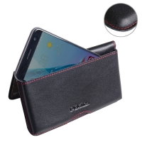 Leather Wallet Pouch for ZTE Blade V7 / Small Fresh 4 (Red Stitch)
