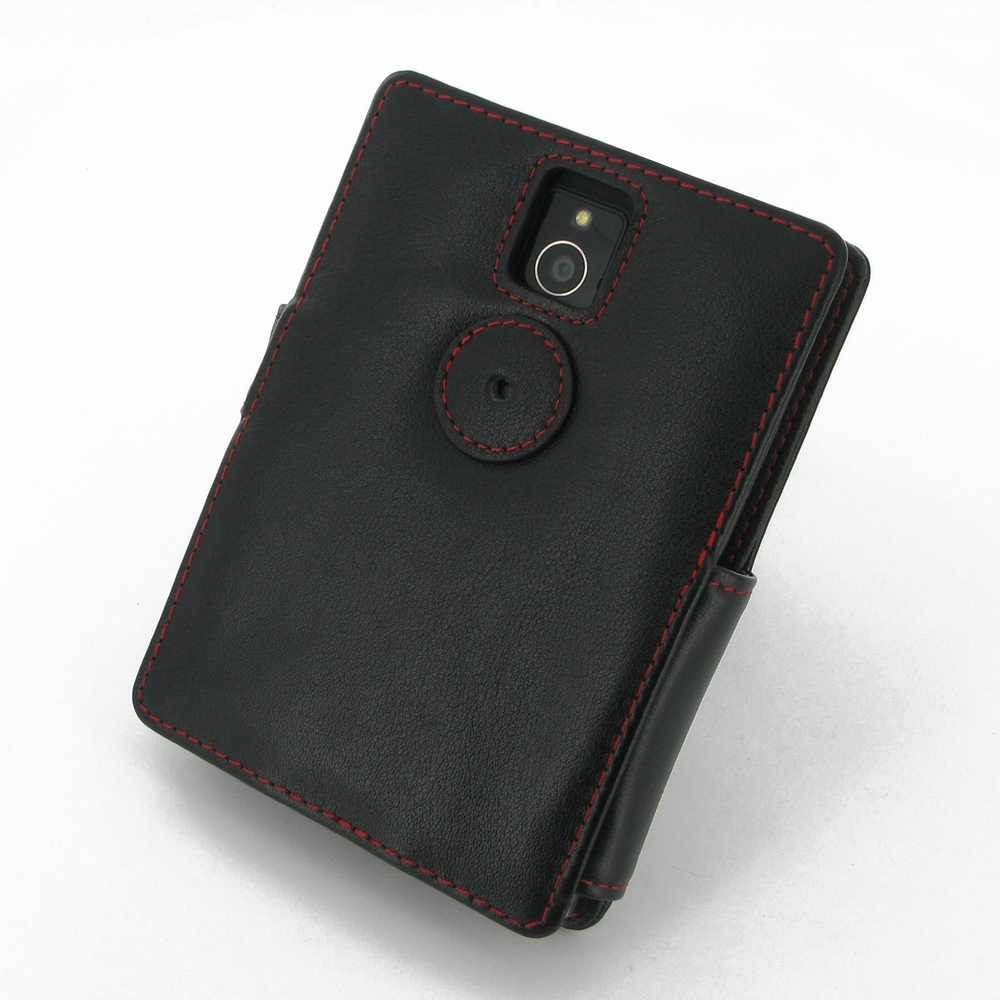 Book Cover Black Berry : Blackberry passport leather flip cover red stitch