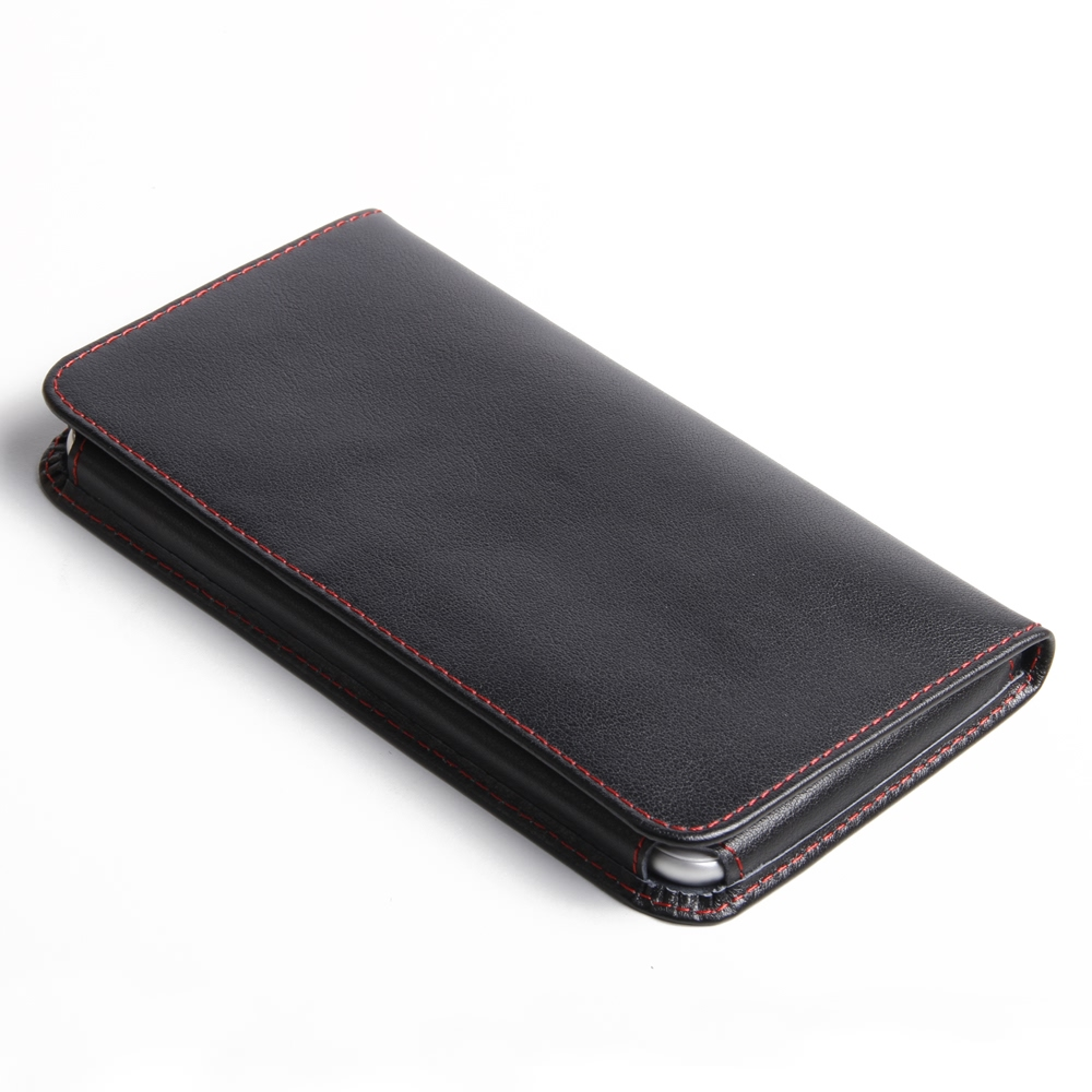 iphone 6 6s plus leather wallet sleeve case red stitch. Black Bedroom Furniture Sets. Home Design Ideas