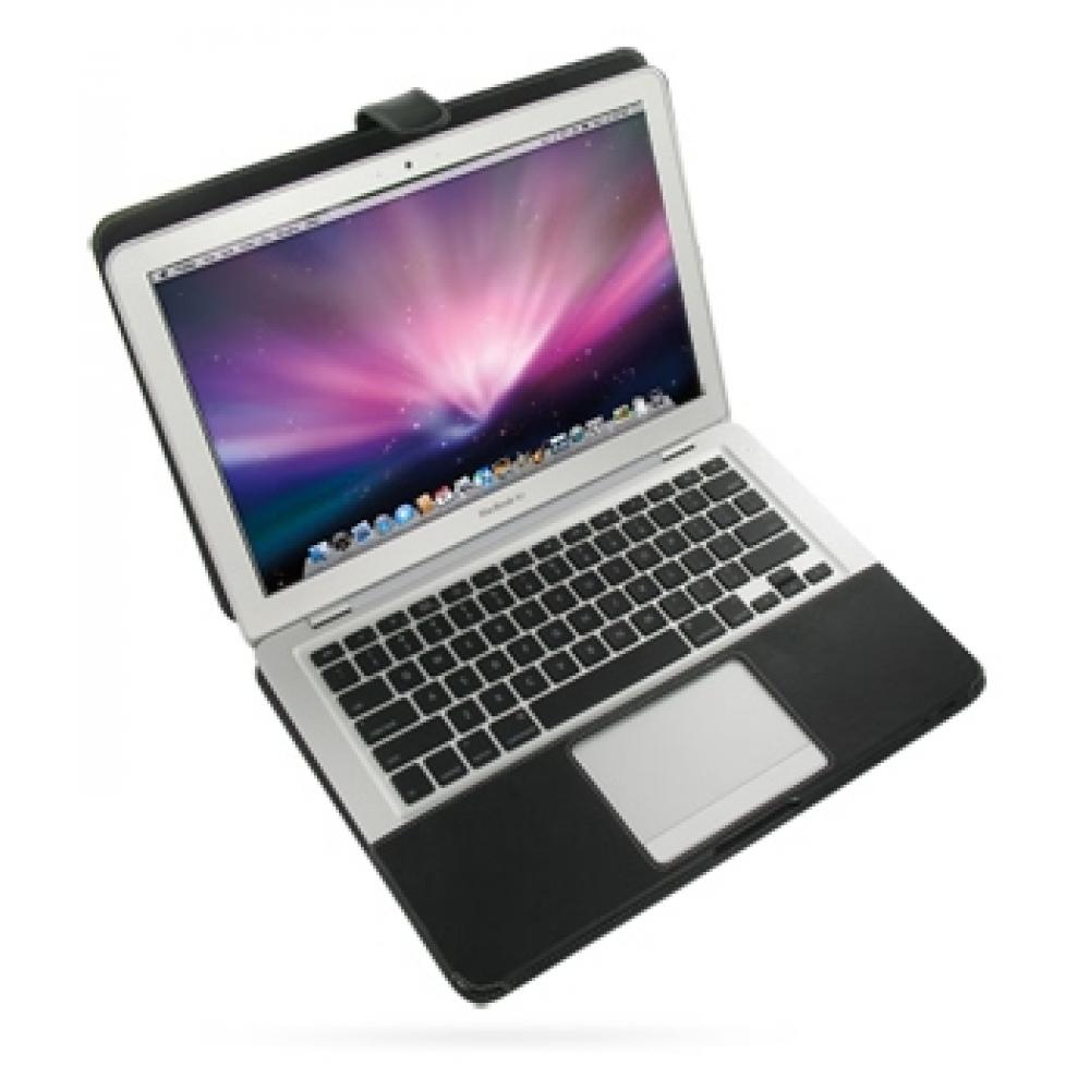 macbook air 2008 13 3 leather flip case cover black pdair. Black Bedroom Furniture Sets. Home Design Ideas
