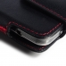 Samsung Galaxy Note 3 Leather Holster Pouch Case (Red Stitch) protective carrying case by PDair