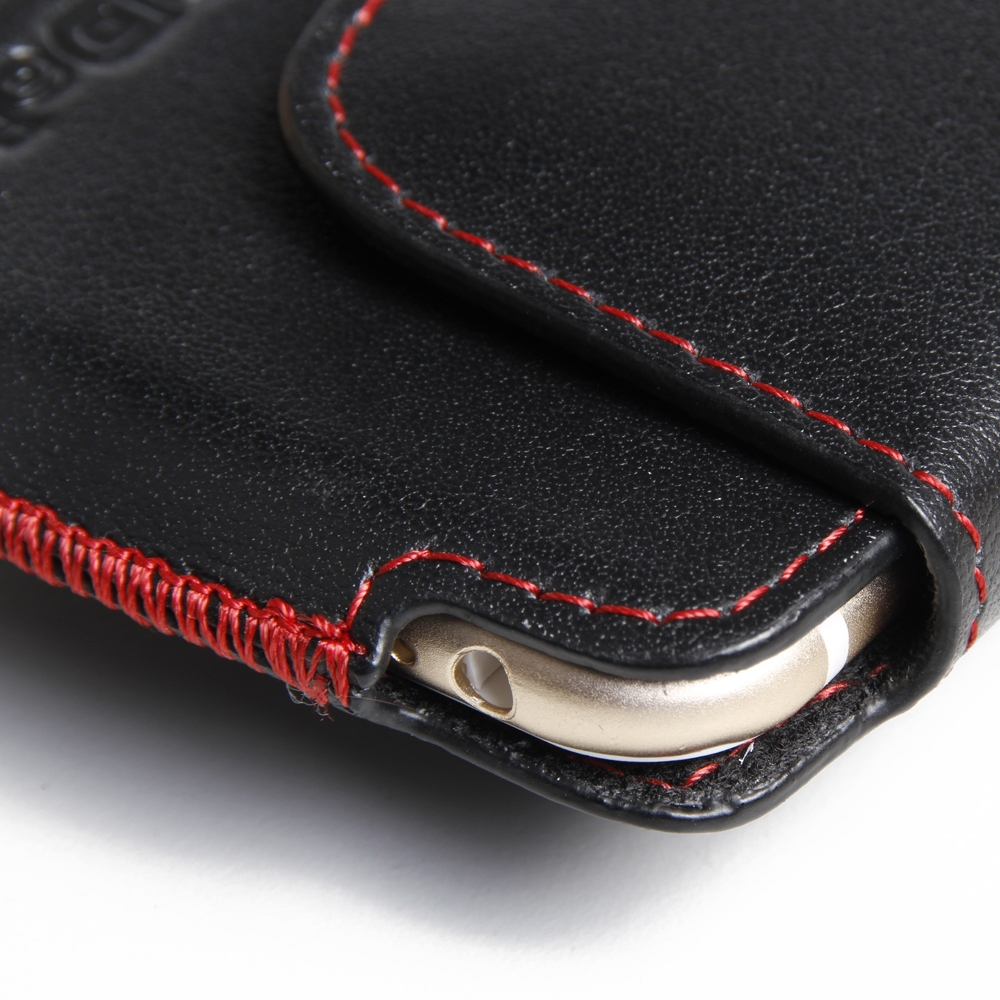 iphone 6 6s leather holster pouch case red stitch. Black Bedroom Furniture Sets. Home Design Ideas