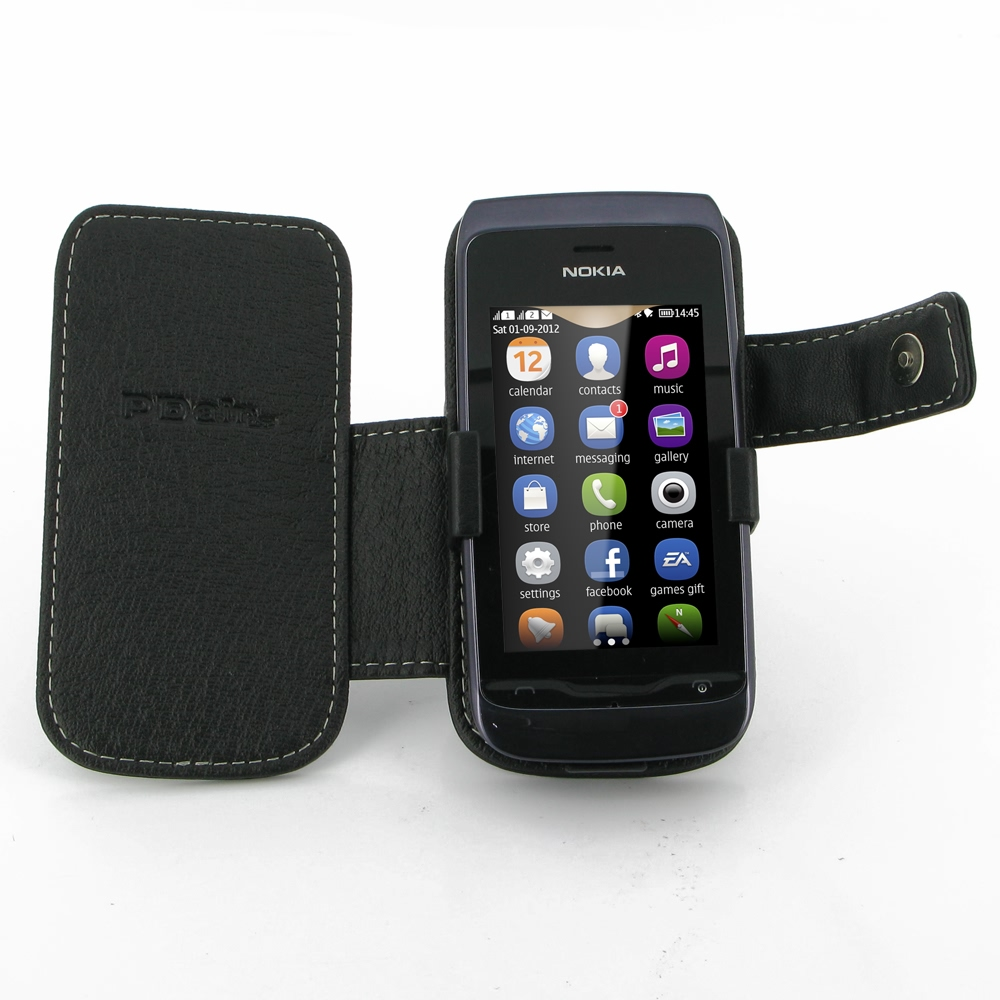 san francisco 49cb7 da6a5 Nokia Asha 308 Leather Flip Cover :: PDair Wallet Sleeve Pouch Holster