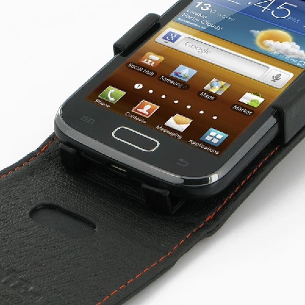 Samsung Galaxy Ace 2 Leather Flip Top Case Orange Stitch