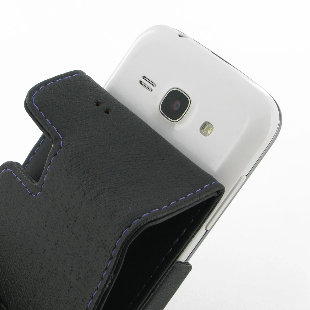 Samsung Galaxy Ace 3 Leather Flip Case Purple Stitch