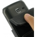 Samsung Wave Y Leather Flip Case (Black) handmade leather case by PDair