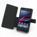 Sony Xperia Z1 Leather Flip Cover (Purple Stitch) top quality leather case by PDair