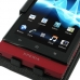 Sony Xperia Sola Leather Flip Top Case (Black) genuine leather case by PDair
