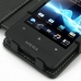 Sony Xperia Miro Leather Flip Cover (Black) genuine leather case by PDair