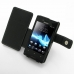 Sony Xperia Miro Leather Flip Cover (Black) top quality leather case by PDair