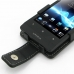 Sony Xperia Miro Leather Flip Case (Black) genuine leather case by PDair