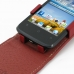 Huawei Ascend Y200 Leather Flip Top Case (Red) genuine leather case by PDair