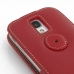 Samsung Galaxy S4 Leather Flip Top Case (Red) protective carrying case by PDair