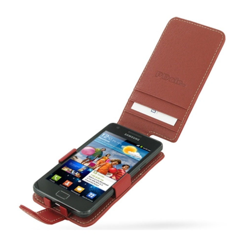 samsung galaxy s2 leather flip case red pdair wallet