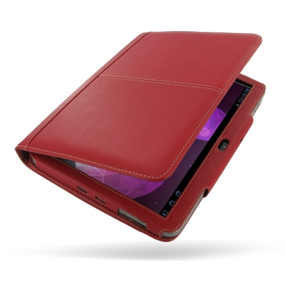 samsung galaxy tab leather folio stand case red. Black Bedroom Furniture Sets. Home Design Ideas