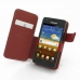 Samsung Galaxy R Leather Flip Cover (Red) genuine leather case by PDair