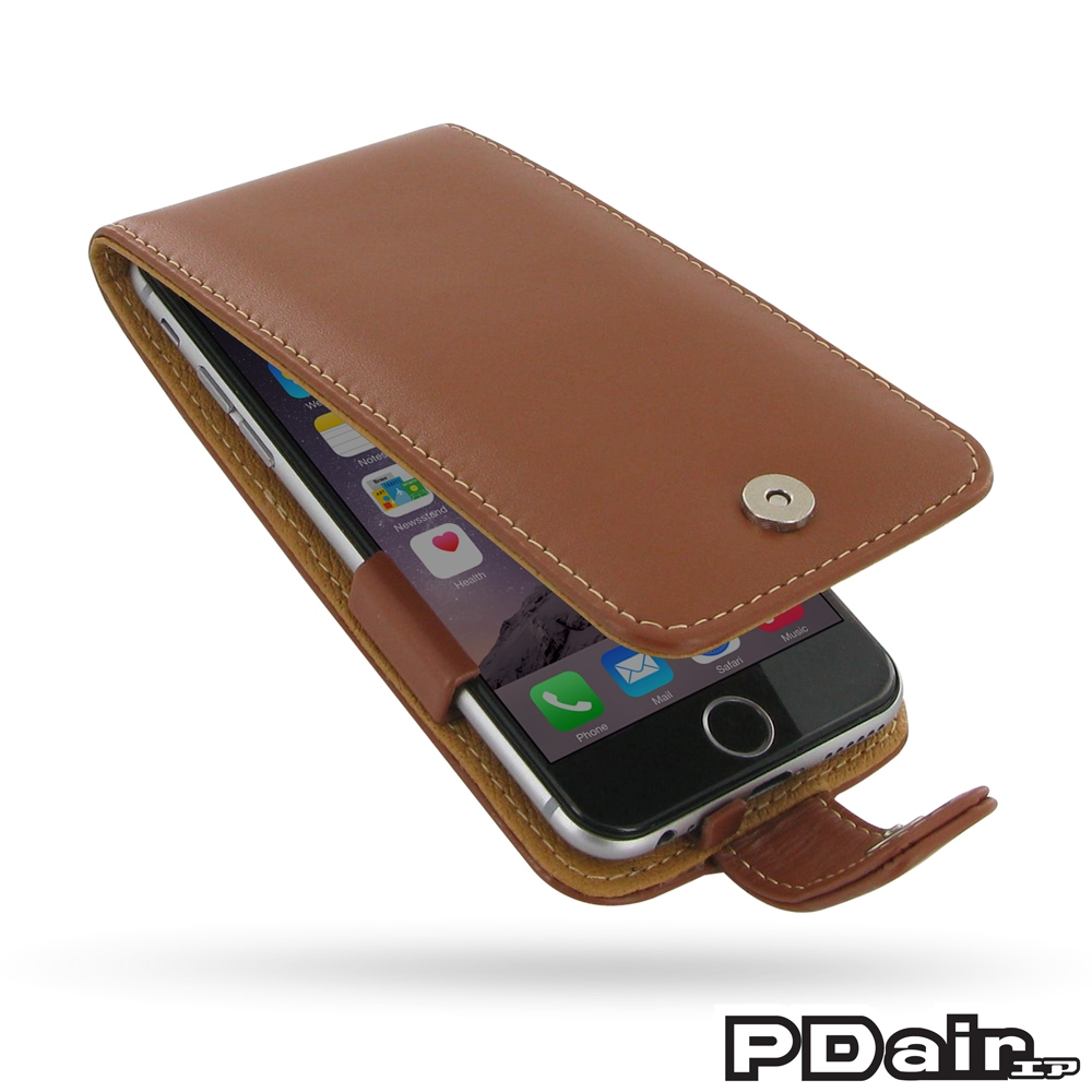 iphone 6 6s leather flip case brown pdair sleeve. Black Bedroom Furniture Sets. Home Design Ideas