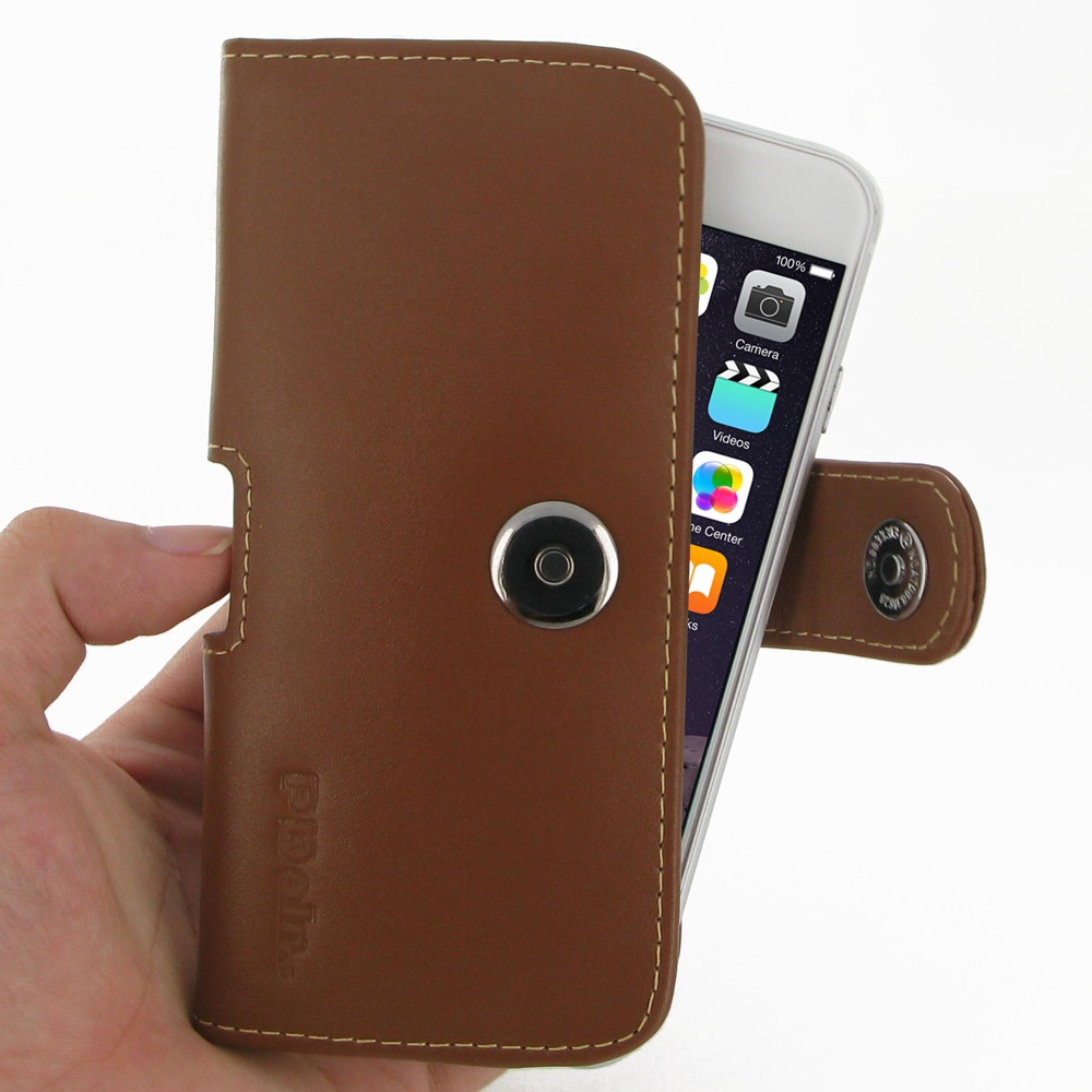 iphone 6 6s leather holster case brown pdair sleeve pouch. Black Bedroom Furniture Sets. Home Design Ideas