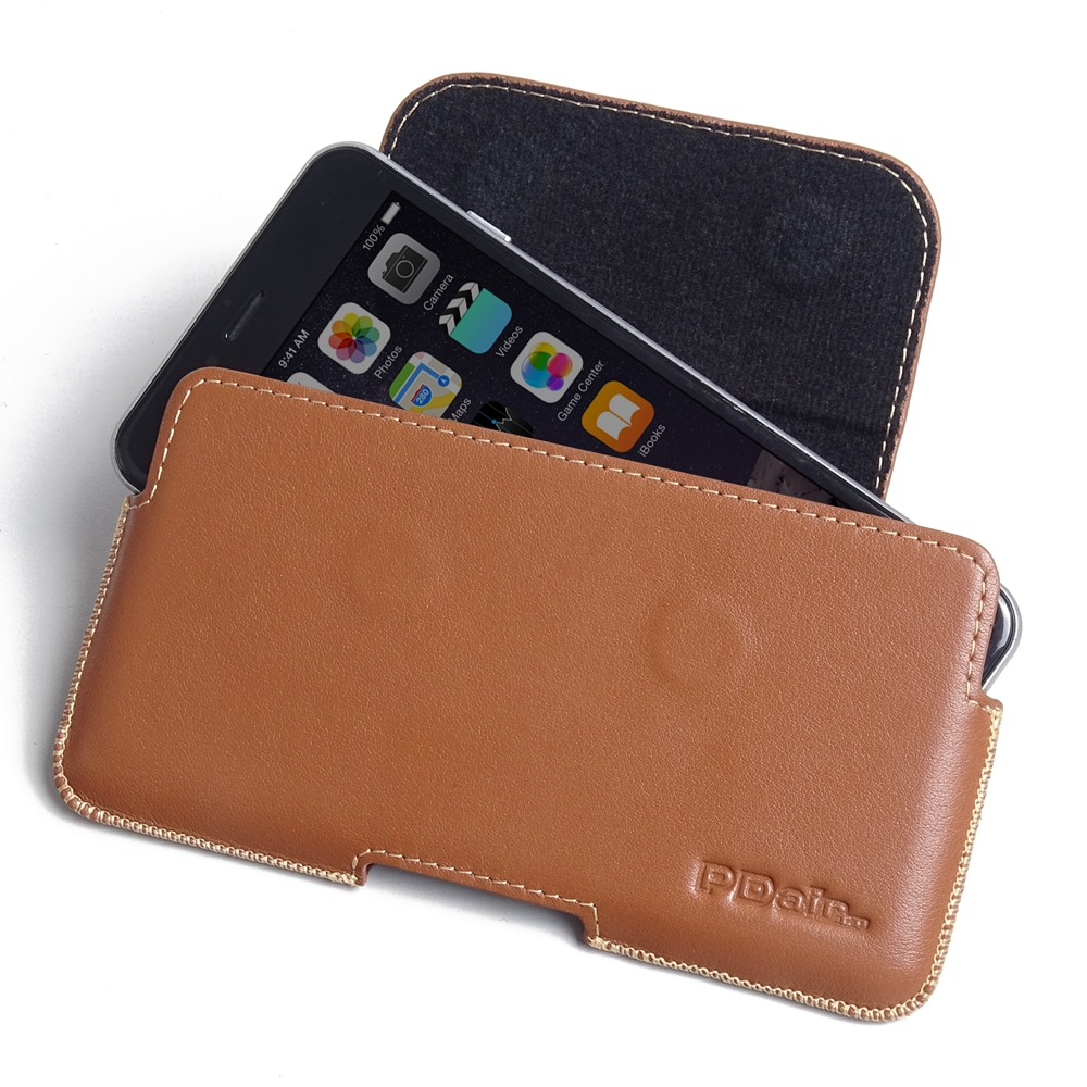 iphone 6 6s plus leather holster pouch case brown pdair sleeve. Black Bedroom Furniture Sets. Home Design Ideas