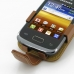 Samsung Galaxy Y Duos Leather Flip Case (Brown) genuine leather case by PDair