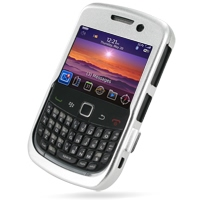 BlackBerry Curve 9300 Aluminum Metal Case (Silver) PDair Premium Hadmade Genuine Leather Protective Case Sleeve Wallet