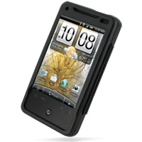 HTC Aria Aluminum Metal Case (Black) PDair Premium Hadmade Genuine Leather Protective Case Sleeve Wallet