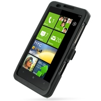 HTC HD7 T9292 Aluminum Metal Case (Black) PDair Premium Hadmade Genuine Leather Protective Case Sleeve Wallet