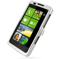 HTC HD7 T9292 Aluminum Metal Case (Silver) PDair Premium Hadmade Genuine Leather Protective Case Sleeve Wallet