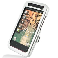 HTC Rhyme Aluminum Metal Case (Silver) PDair Premium Hadmade Genuine Leather Protective Case Sleeve Wallet