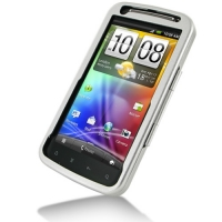 HTC Sensation XE Aluminum Metal Case (Silver) PDair Premium Hadmade Genuine Leather Protective Case Sleeve Wallet