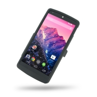 Nexus 5 Aluminum Metal Case (Black) PDair Premium Hadmade Genuine Leather Protective Case Sleeve Wallet