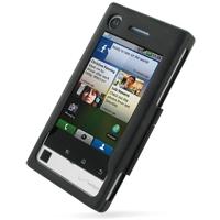 Motorola DEVOUR A555 Aluminum Metal Case (Black) PDair Premium Hadmade Genuine Leather Protective Case Sleeve Wallet