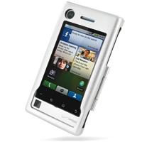 Motorola DEVOUR A555 Aluminum Metal Case (Silver) PDair Premium Hadmade Genuine Leather Protective Case Sleeve Wallet