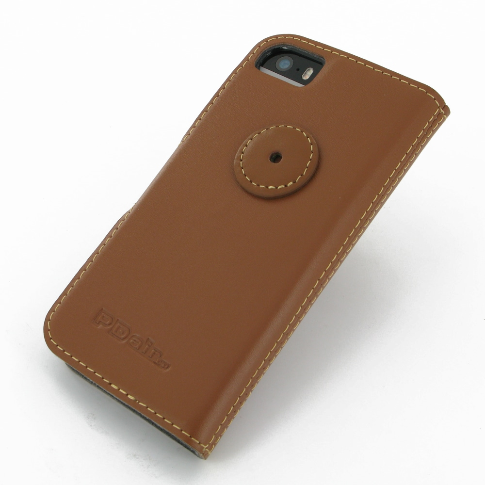 Iphone 5 5s leather flip cover case brown pdair sleeve pouch - Iphone 5s leather case ...