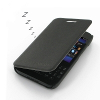 BlackBerry Q5 Casual Folio Cover Case (Black) PDair Premium Hadmade Genuine Leather Protective Case Sleeve Wallet