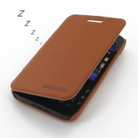 BlackBerry Q5 Casual Folio Cover Case (Brown) PDair Premium Hadmade Genuine Leather Protective Case Sleeve Wallet