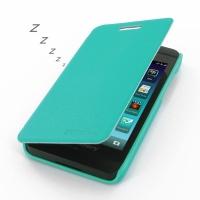 BlackBerry Z10 Casual Folio Cover Case (Aqua) PDair Premium Hadmade Genuine Leather Protective Case Sleeve Wallet