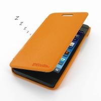 BlackBerry Z10 Casual Folio Cover Case (Orange) PDair Premium Hadmade Genuine Leather Protective Case Sleeve Wallet