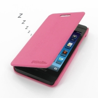 BlackBerry Z10 Casual Folio Cover Case (Petal Pink) PDair Premium Hadmade Genuine Leather Protective Case Sleeve Wallet
