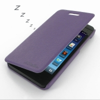 BlackBerry Z10 Casual Folio Cover Case (Purple) PDair Premium Hadmade Genuine Leather Protective Case Sleeve Wallet