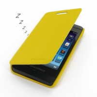 BlackBerry Z10 Casual Folio Cover Case (Yellow) PDair Premium Hadmade Genuine Leather Protective Case Sleeve Wallet