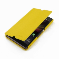Casual Folio Cover Case for Sony Xperia Z L36H (Yellow)