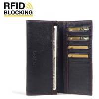 Continental Leather RFID Blocking Wallet Case (Black Pebble Leather/Red Stitch)